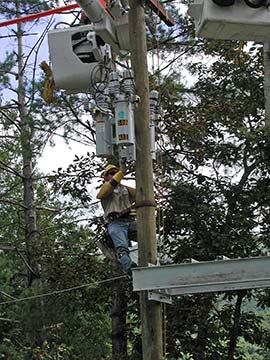Working on a power line